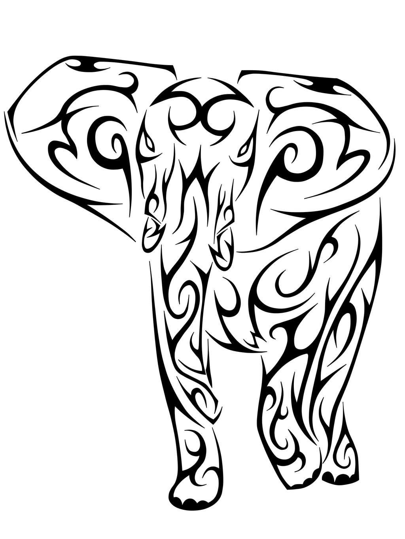 1024x1365 Tribal Elephant Drawing Elephant Tribal Tattoo Designs