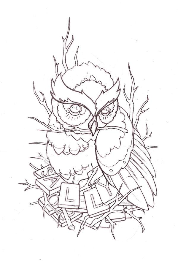 600x879 Tattoo Design Owl By Reklawpeels