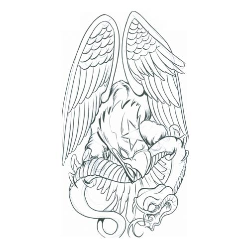 500x500 Collection Of Eagle With Flowers Tattoo Design