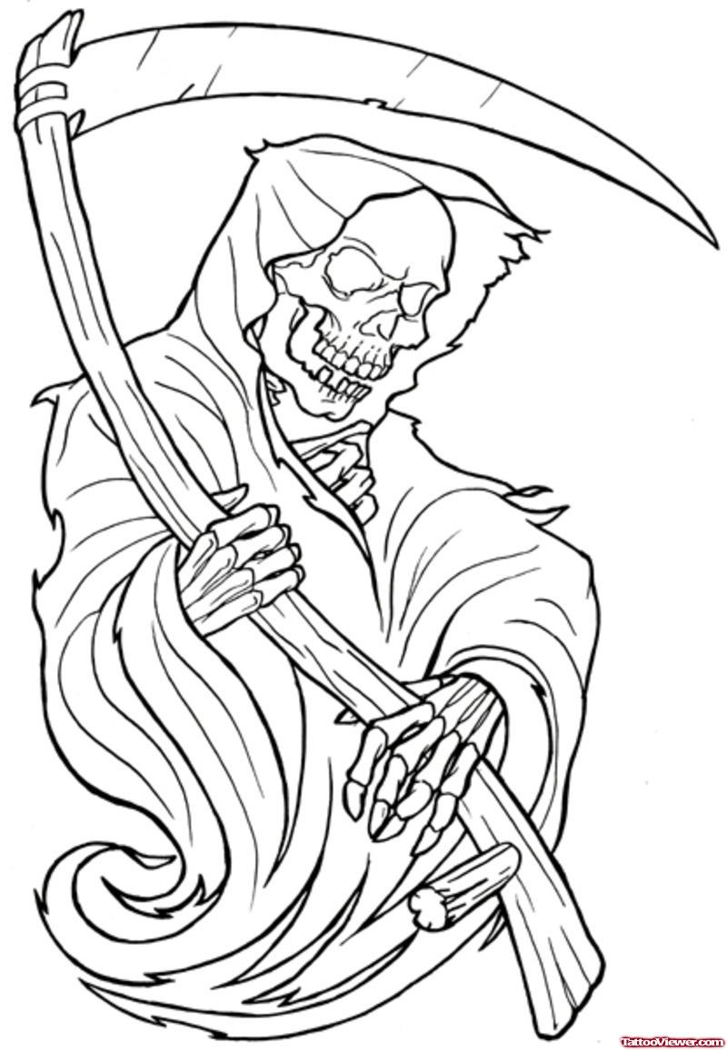 800x1157 Attractive Outline Grim Reaper Tattoo Design
