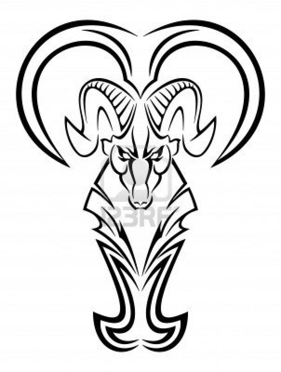 906x1200 Tribal Zodiac Aries Tattoo Design For Men Draw