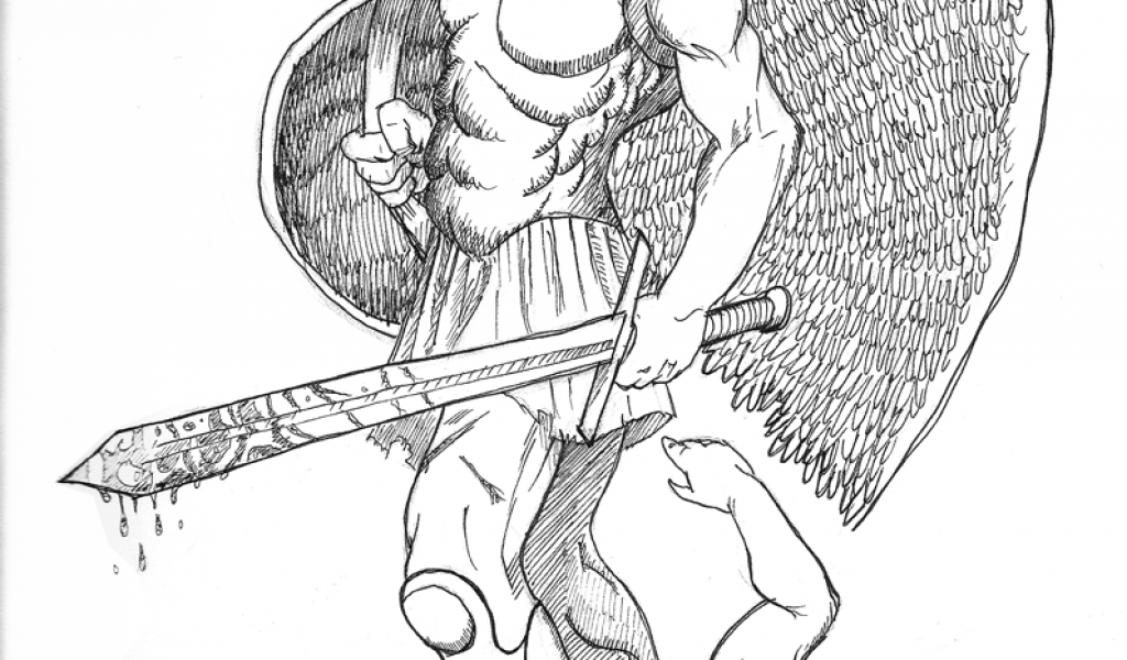 1024x600 Archangel Michael Tattoo Drawing Designs Endless Tattoo Designs