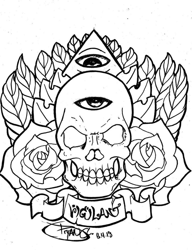 783x1020 Skull Eye Tattoo ink outline by BryanChalas on DeviantArt