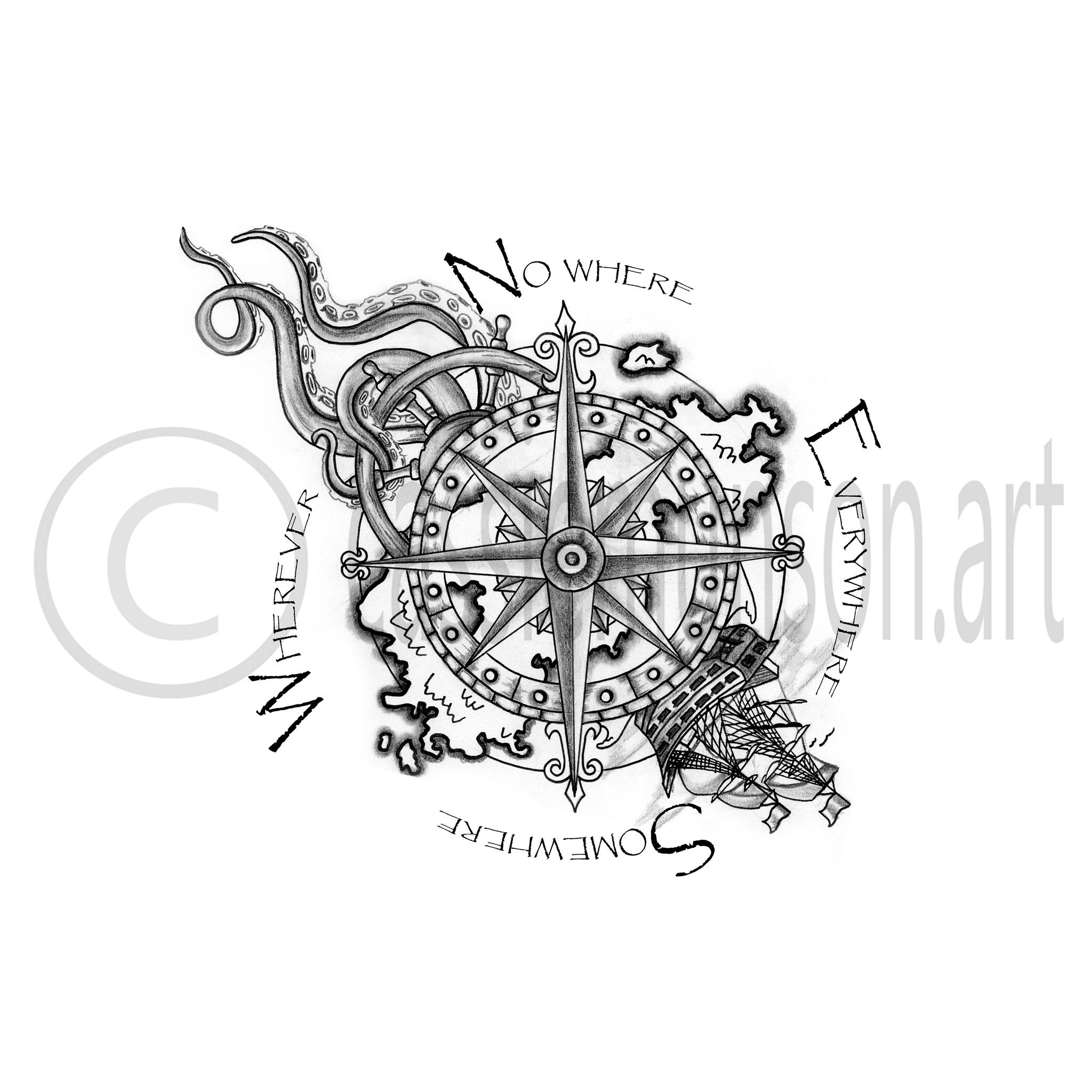 Compass Tattoo Line Drawing : Tattoo drawing designs at getdrawings free for