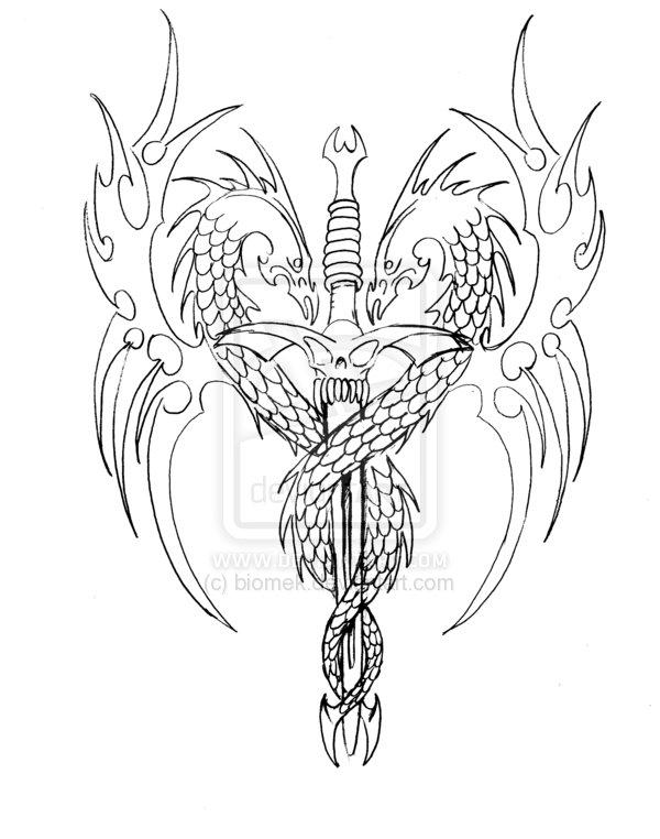 600x762 Dragon Sword Tattoo Design Sketch By Biomek