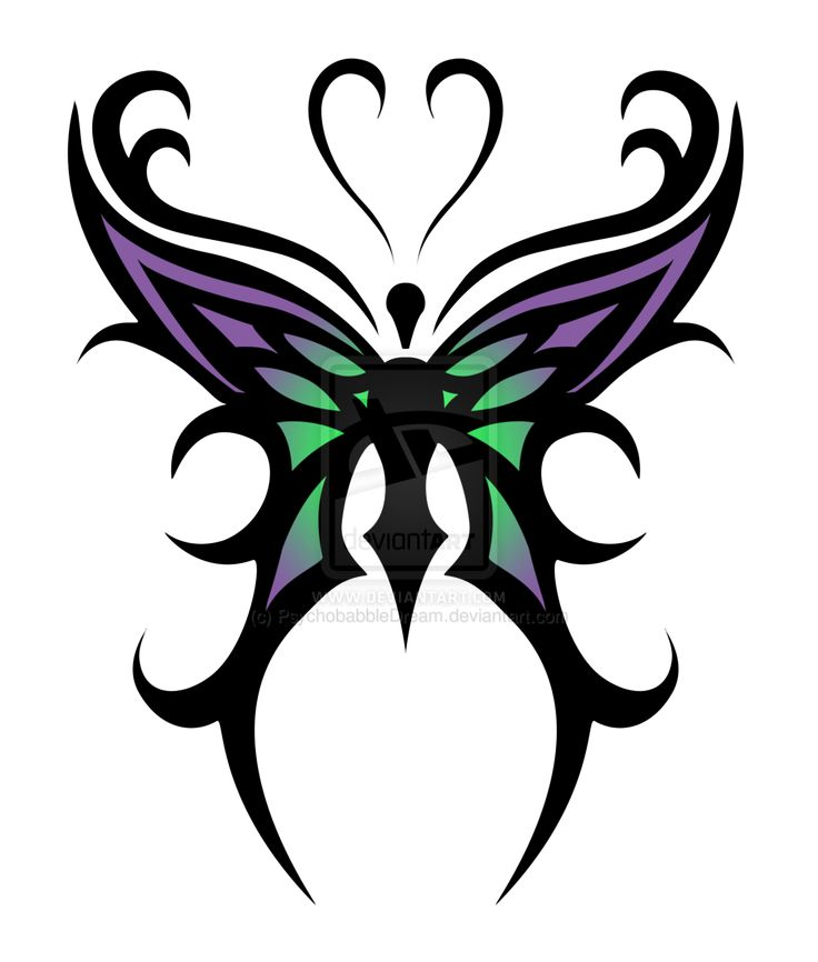 736x866 Colorful Tribal Butterfly Tattoo Design
