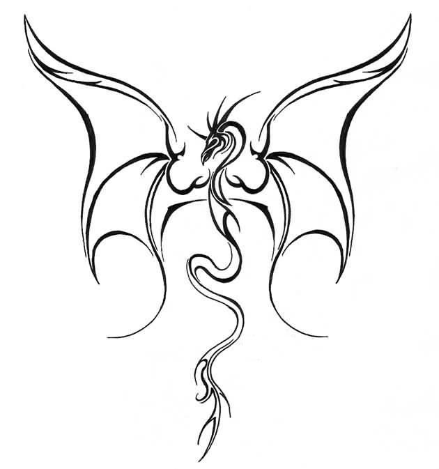 630x673 Simple Flying Dragon Tattoo Design Make On Paper