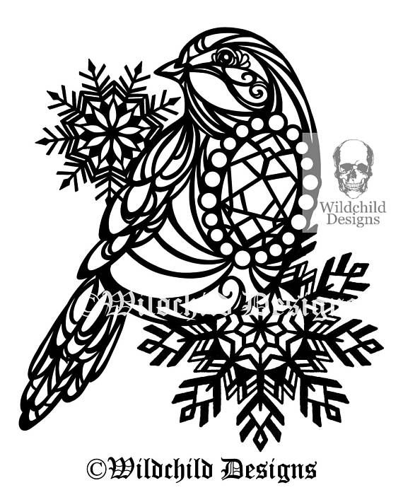 570x693 Tattoo Style Robin Paper Cutting Template Commercial Amp Bird