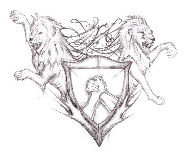 600x490 Shield Tattoo Designs Lions Shield Tattoo Design By Deko