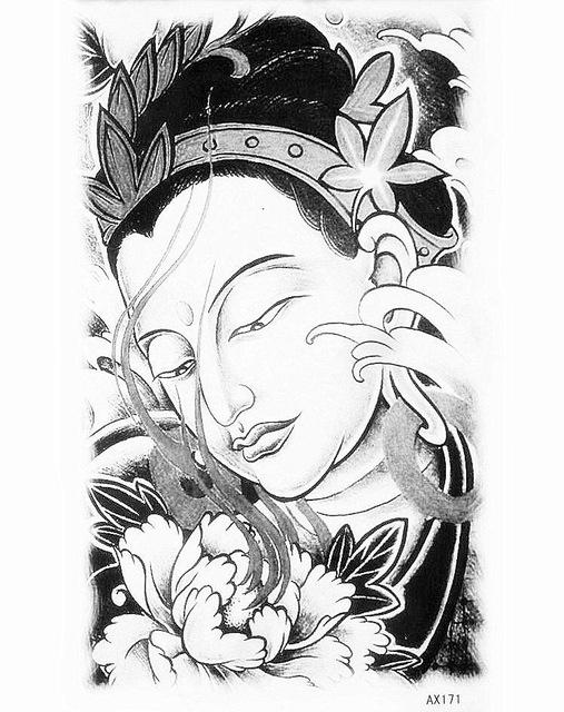 507x640 India Girl Inkjet Temporary Tattoo Paper Black Waterproof Flower