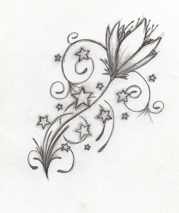 628x746 Flowers N Stars Tattoo Drawing