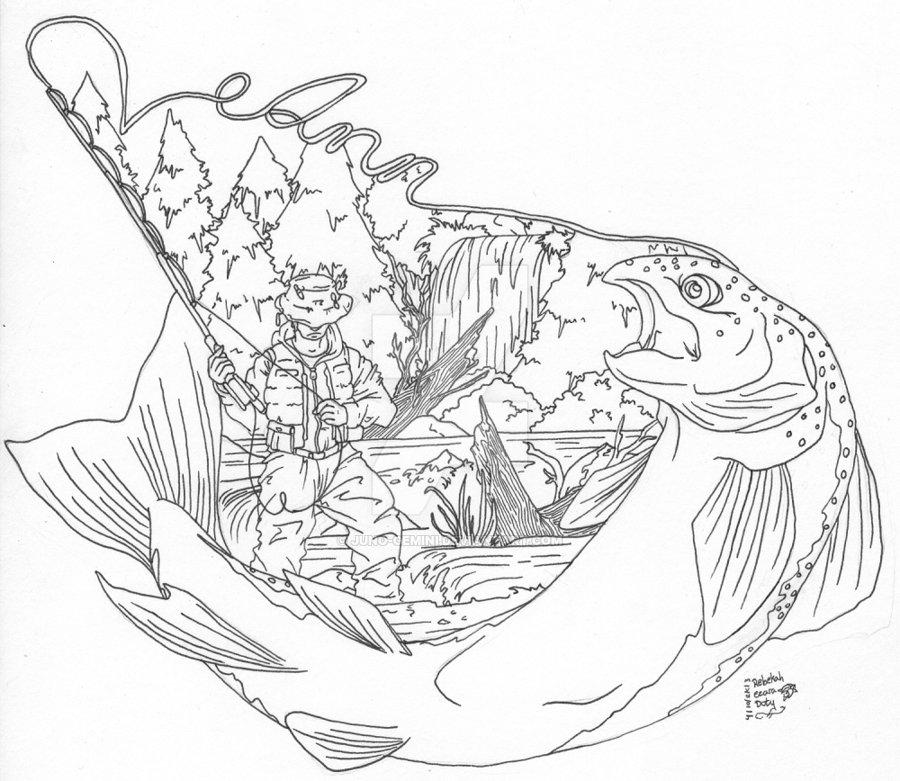 900x781 Fly Fishing Tattoo By Juno Gemini