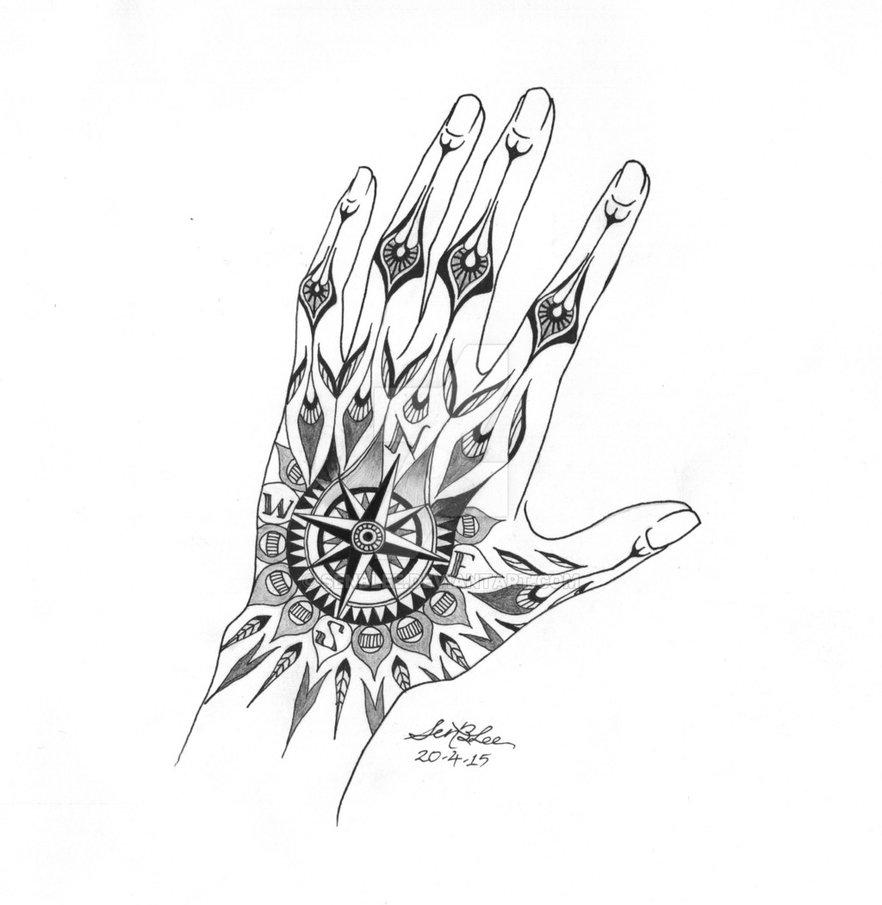 882x905 Hand Compass Tattoo Design By Senblee