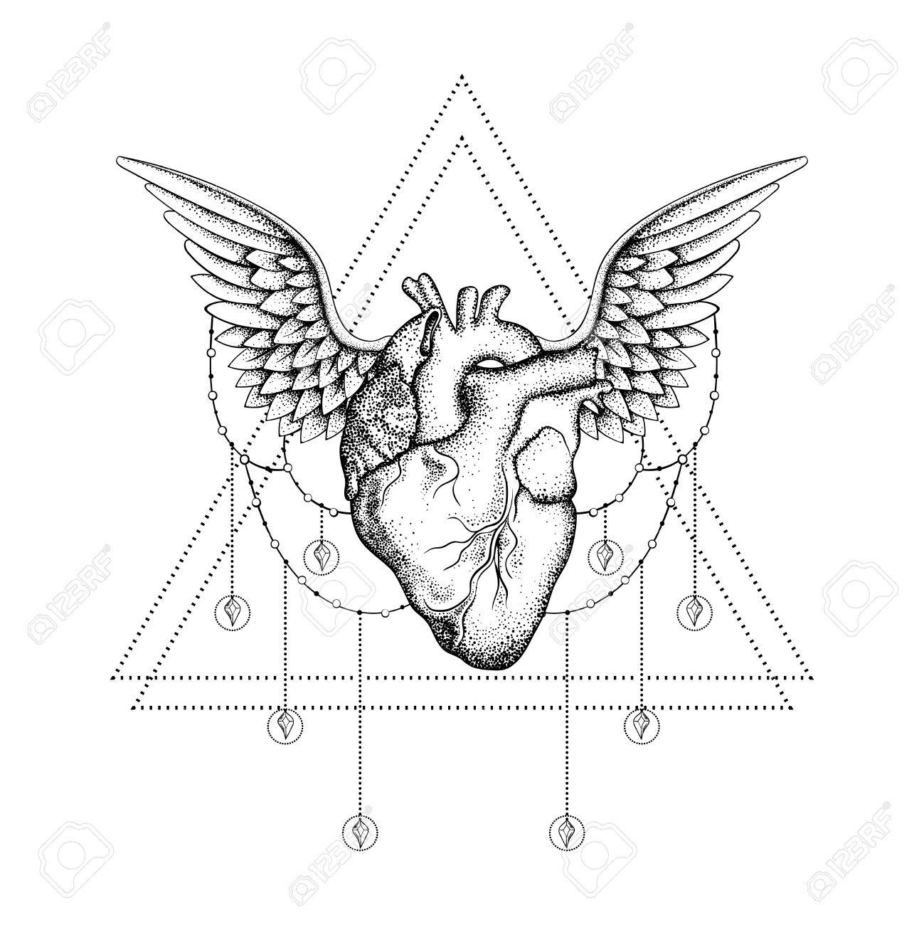 1299x1300 Hand Drawn Boho Tattoo. Blackwork Human Heart With Wings