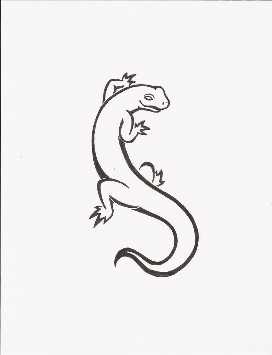 900x1172 40 Best Salamander Tattoo Sketches