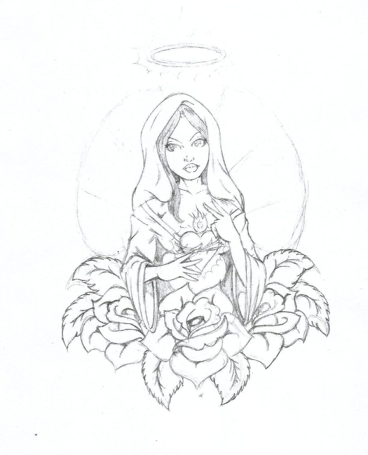 1256x1555 Virgin Mary Drawings Virgin Mary Tattoo Pencilsangelupstart