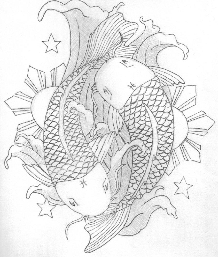 900x1063 Koi Tattoo Sketch By Sugi Chan
