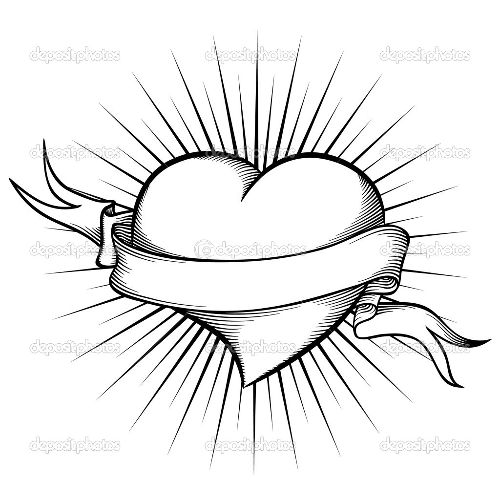 1024x1024 Hearts And Roses Coloring Pages Heart With Ribbon In Tattoo