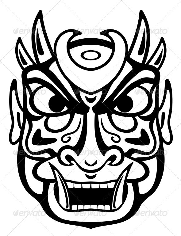 590x770 Ancient Mask Vector Program, Masking And Tattoo Templates