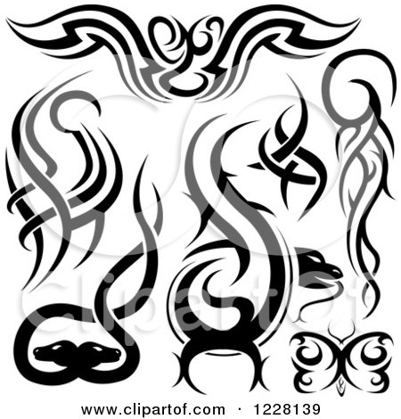 450x470 Clipart Of Black And White Tribal Tattoo Designs
