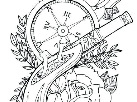 440x330 Flash Tattoo Coloring Pages Plus The Gun By On Tattoo Flash 754