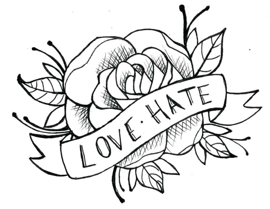863x669 Ideas Tattoos And Simple Traditional Rose Line Drawing Tribal