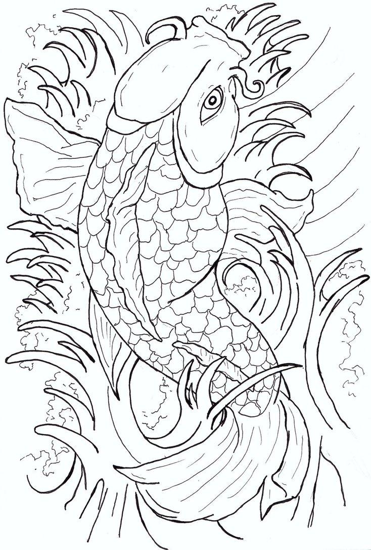 734x1087 Japanese Koi Fish Tattoo Flash By Caylyngasm