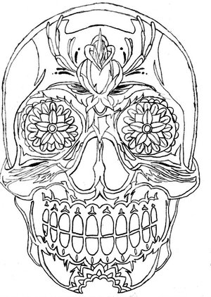 300x422 Mexican Skull Sleeve Outline Drawing Tattoo Designs