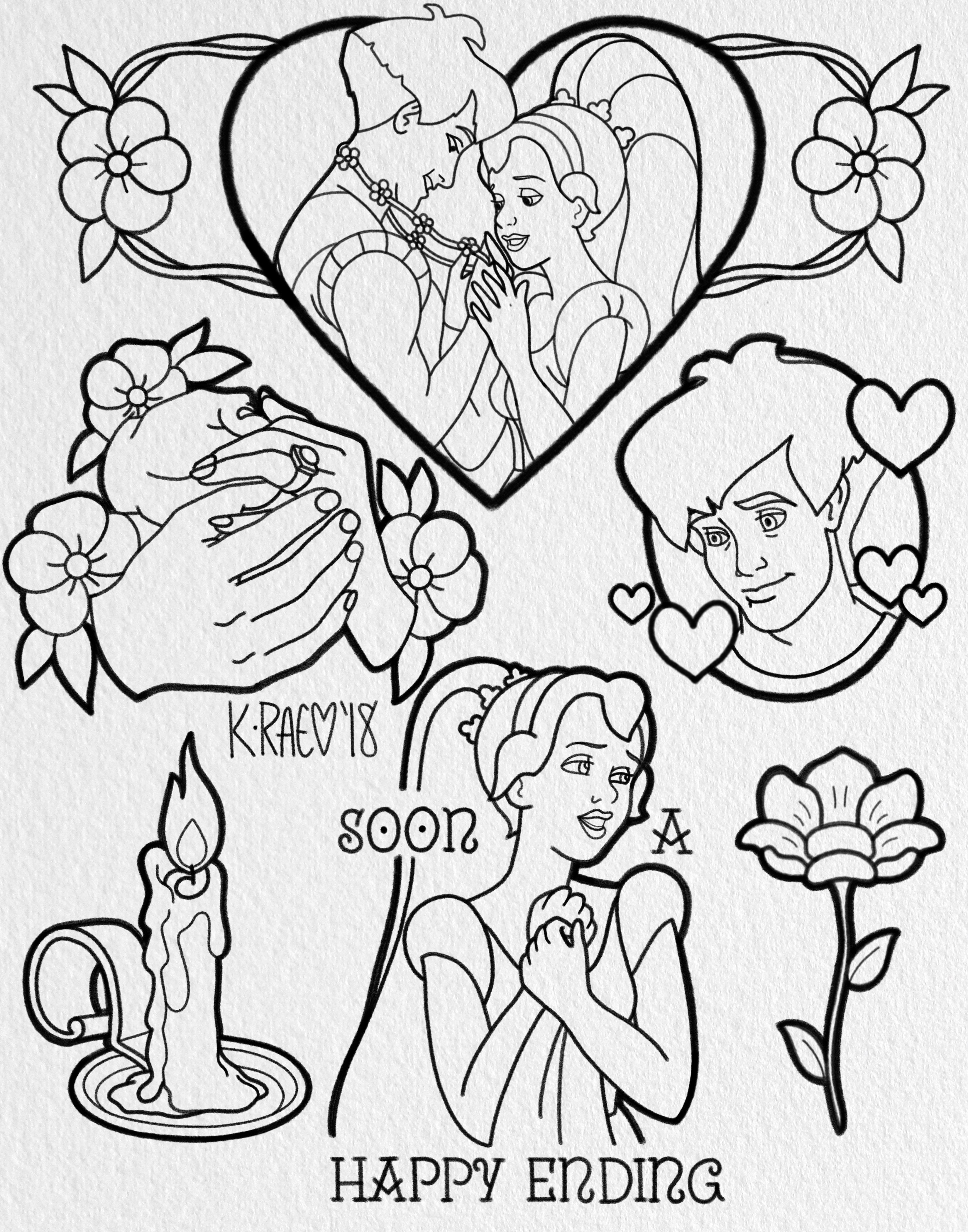 3300x4200 Thumbelina Tattoo Flash Sheet Drawing
