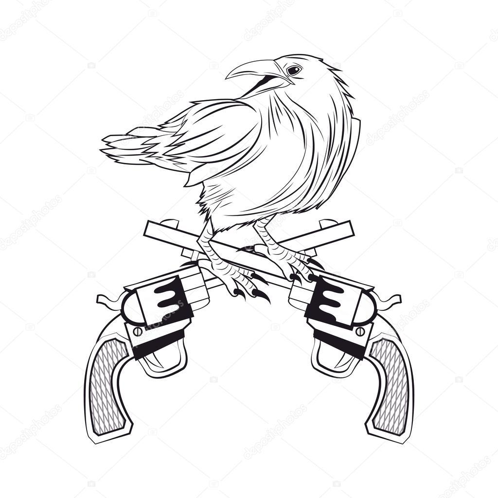 1024x1024 Eagle Gun Tattoo Animal Design Stock Vector Jemastock