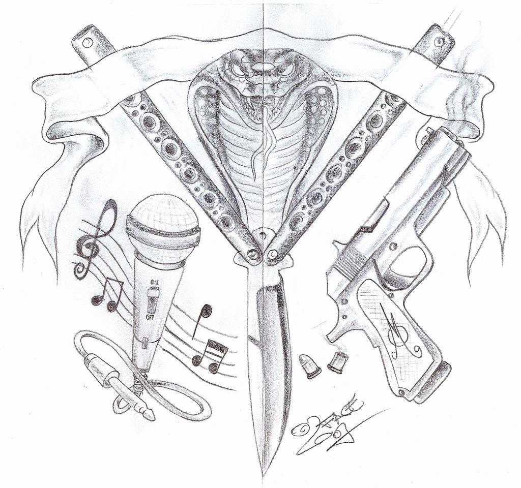 1024x960 Gang Knife Gun Tattoo Design By 2face Tattoo
