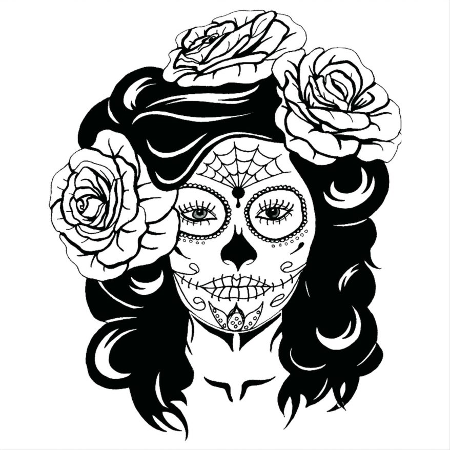 878x878 Roses Drawings With Sugar Skulls 95 Exciting Skull Tattoo Outline