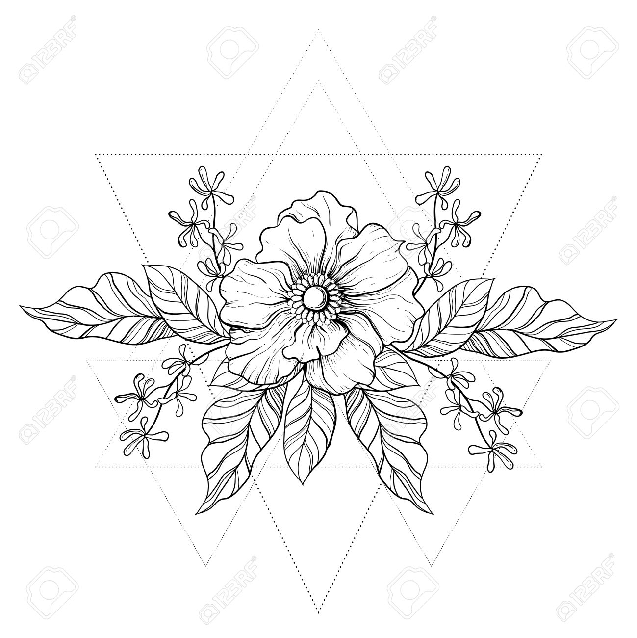 1299x1300 Hand Drawn Boho Tattoo. Blackwork Flower In Hipster Triangles