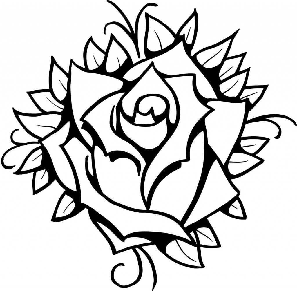 1024x1003 Rose Line Drawing Clip Art Rose Drawing Tattoo Design Ideas Rose
