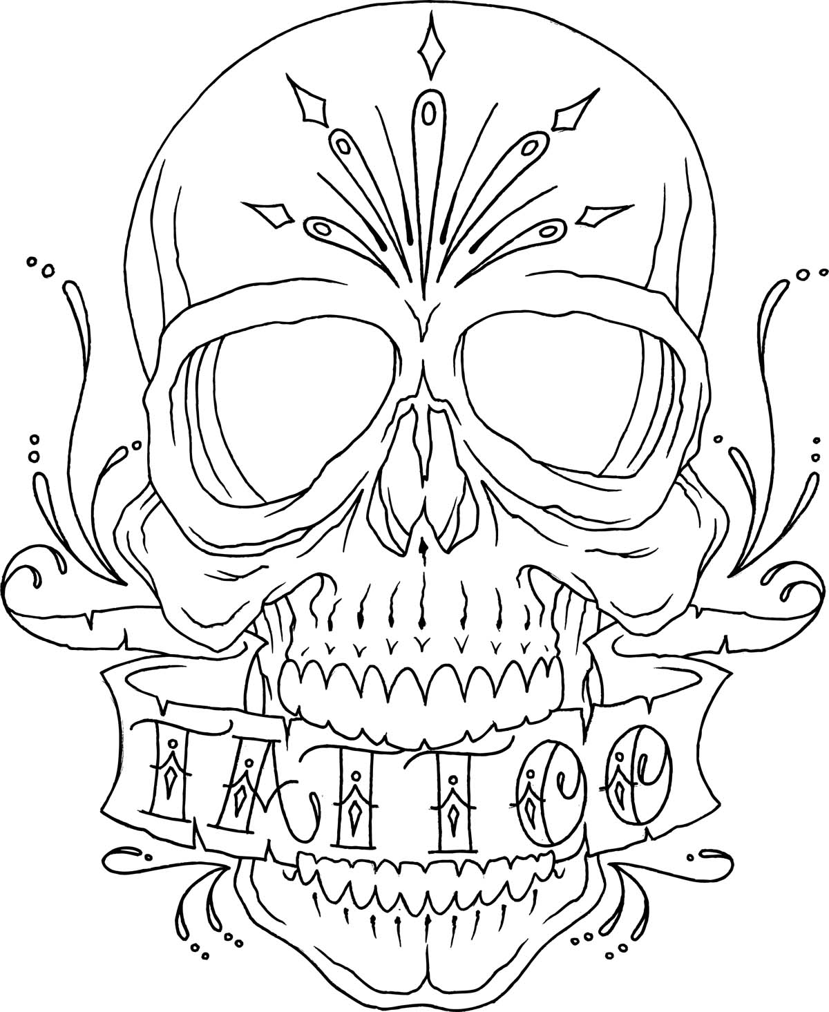 1200x1465 Skull Tattoo Line Drawing Coloring Sheets