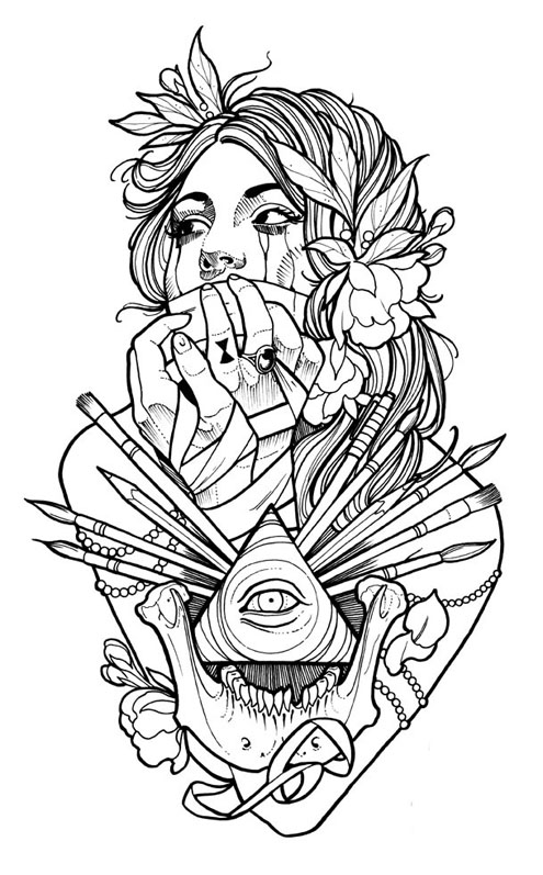 495x797 Wonderful Tattoo Coloring Pages 58 In Line Drawings With Tattoo