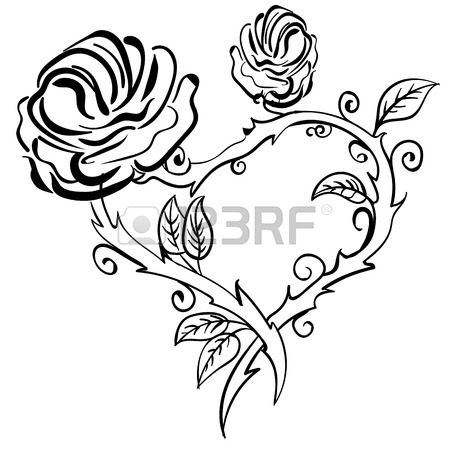 450x450 Hands Holding A Rose Flower Isolated Outline Hand Drawn Sketch