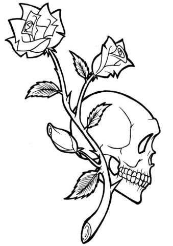 339x480 Rose And Skull Tattoo Coloring Page Free Printable Coloring Pages