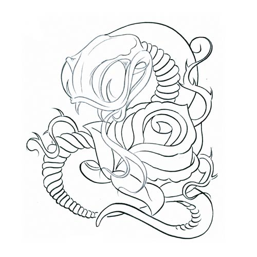 500x500 Classic Black Outline Snake With Rose Tattoo Design