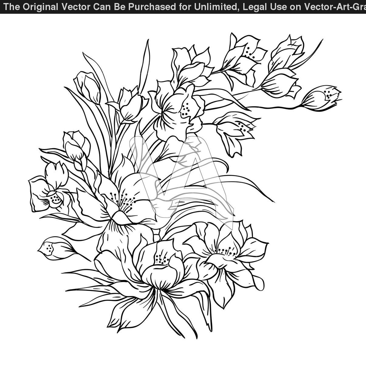 1205x1205 Flower Bunch Tattoo Sketch Drawn Flower Flower Bunch