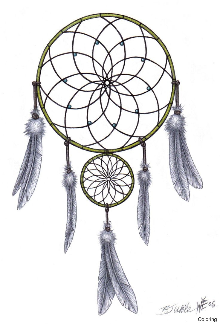 736x1084 Dream Catcher Drawing Tattoo Drawings Of Dreamcatchers Coloring