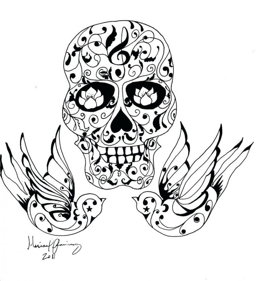 863x940 Flying Birds And Sugar Skull Tattoo Design Tattoos Swallow Designs