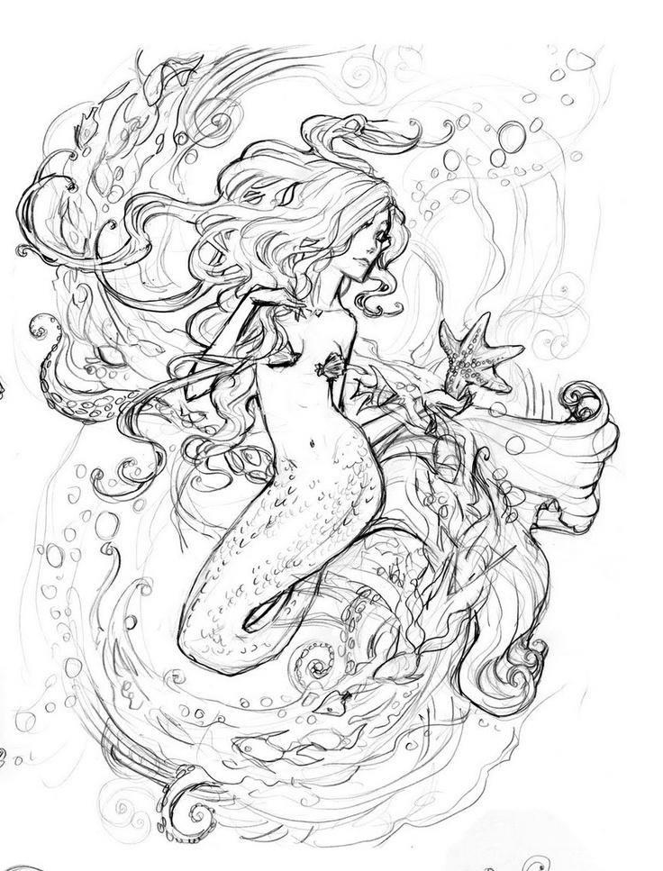 736x967 Drawn Tattoo Mermaid