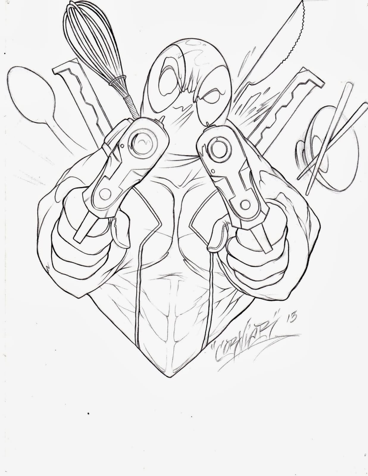 1237x1600 Extremely Ideas Deadpool Outline Top Images For Tattoos