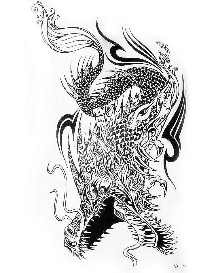 750x944 Waterproof Black Dragon Fly Tattoo Sticker,lower Back, Shoulder