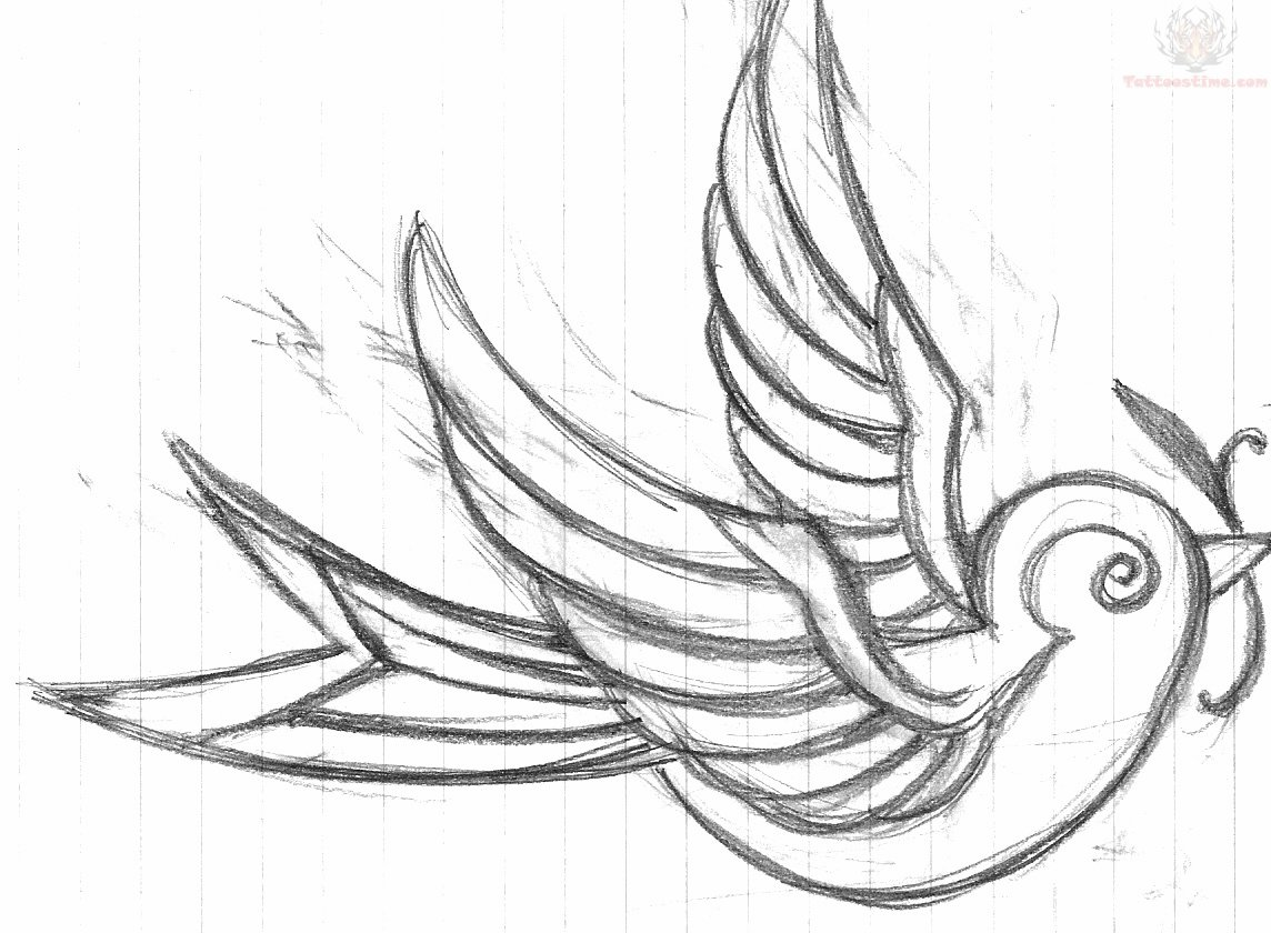 1144x840 Simple Outline Swallow Tattoo Design