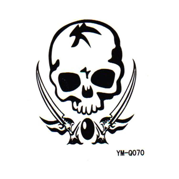 750x750 Danger Mark Skeleton Totem Removable Temporary Transfer Tattoos