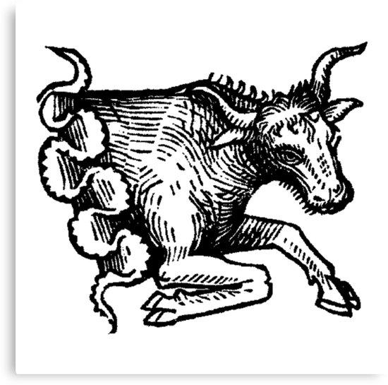 550x545 Medieval Zodiac Horoscope Taurus The Bull Canvas Prints By