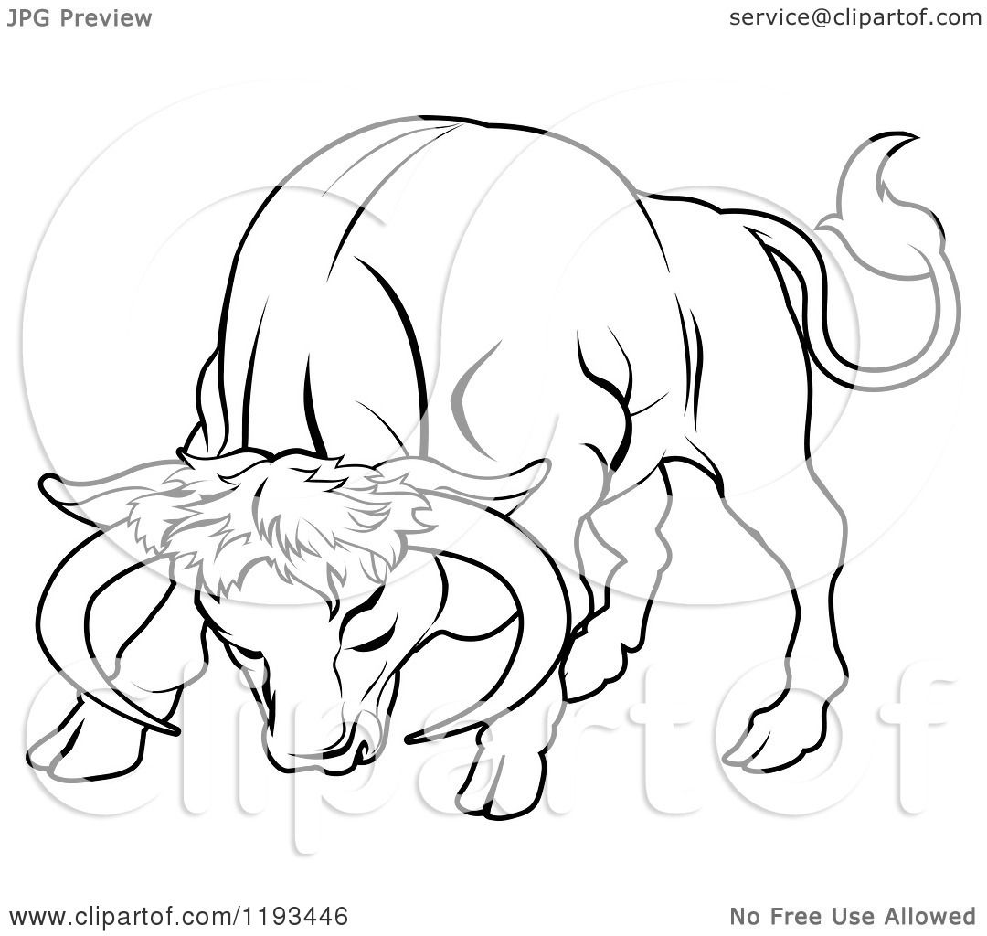 1080x1024 Clipart Of A Black And White Line Drawing Of The Taurus Bull
