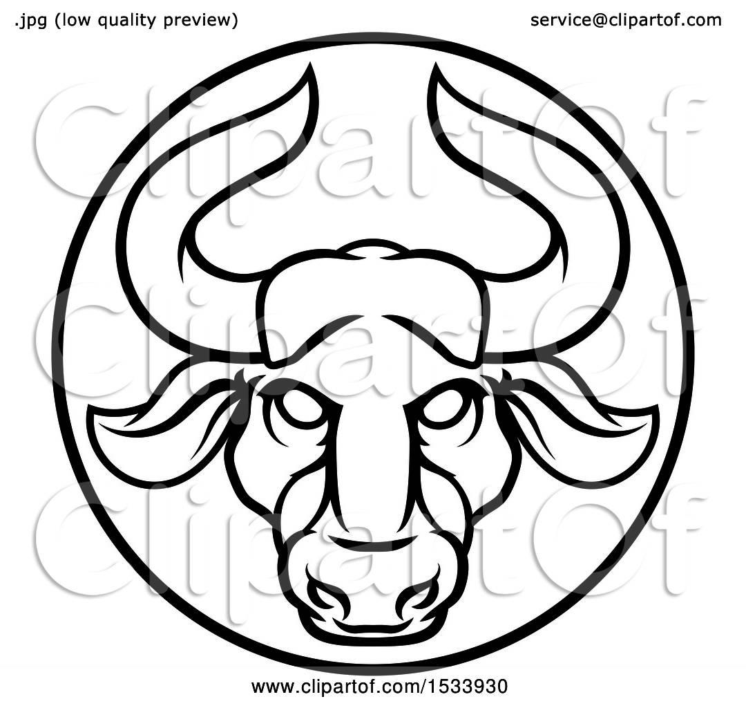 1080x1024 Clipart Of A Zodiac Horoscope Astrology Taurus Bull Circle Design